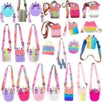 New Fashion Push Bubbles Toy Rainbow Unicorn Kawaii Coin Purse Children Wallet Silica Gel Simple Dimple Fidget Toys