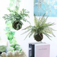 Decorative Flowers & Wreaths Artificial Hanging Plants Fern Green Leaf Ball Bonsai For Home El Shop Wedding Floral Decor