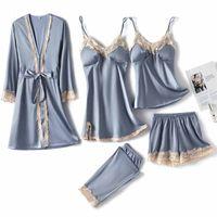 Women's Sleepwear Faux Silk Pajamas Set Women Nightwear Casual Satin Kimono Bathrobe Gown Soft Loungewear Sexy Robe Home Clothes L