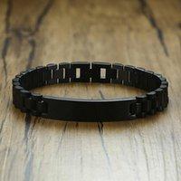Enlace, cadena 10 mm Reloj clásico de acero inoxidable Pulsera con inspiración ID grabable Tag Brackelts Brazalet Brazalete en negro
