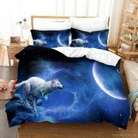 Conjuntos de ropa de cama Impresión 3D White Wolf Luna Duvet Funda Duvet Set Queen King Tamaño Tribal Animal Galaxy Edredón con funda de almohada ropa de cama