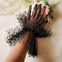 Kurzer Tüll Handschuhe Hochzeit Braut Kleid Handschuhe Mode Weiße Schwarzer Punkt Transparent Handschuhe Handgelenk Länge Brauthandschuhe Frauen