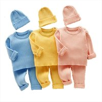 3pcs Set Baby Girl Clothes Boys Knit Ribbed Sweater Newborn Girls High Waist Pant Hats Children Clothing Suit 0 12m
