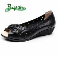 Peipá plus size 35 43 mulheres sandálias de couro genuíno cunhas casuais plataforma verão sandálias mulher borboleta knot mãe sapatos sapatos para k4ag #