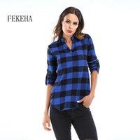 FEKEHA Damen Plaid Hemden Herbst Langarm Blusen V-Ausschnitt Lady Office Hemd Baumwollhemd Casual Tops Plus Größe 6XL Blusas