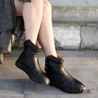 Artmu Origional الرجعية شقة أحذية قصيرة عارضة الكعوب سميكة الأحذية الخريف والشتاء نمط جديد جلد طبيعي المرأة الكاحل i7ZN #