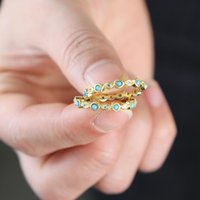 Wedding Rings Cubic Zirconia Turquoises Eye Band For Women Fashion Design Statement Gold Color Ring Jewelry