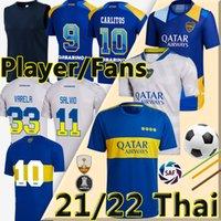 21/22 Boca Juniors Soccer Jerseys Fans versione 2021 2022 Cristian Pavon Tevez Maradona Carlitos Gago de Rossi Camiseta Salvio Cabj Men + Kids Kit Kit Camicia da calcio