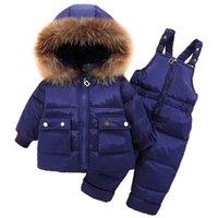 Olekid 2021 Invierno Infantil Bebé abajo Snowsuit Golpy Wardew Chaqueta Coat Monos Baby Girl Boy Ropa Set 1-4 años Traje para niños Traje H1025