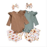 Baby girl vestiti per bambini manica lunga a maniche lunghe pagliaccetti girasole stampato triangolo ruffle boutique tutesuits casual toorsie bambini 3pcs / set zyy685