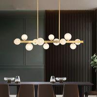 Modern minimalist copper restaurant Pendant Lamps  creative magic bean lamp strip bar lights
