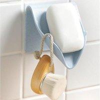 벽 장착형 비누 홀더 셀프 접착 접시 스토리지 박스 배수 욕실 샤워 트레이 플레이트 없음 드릴링