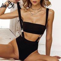 Bikiniler Seti IN-X Toka Siyah Mayo Tek Parça Sexh Yüksek Kesim Bikini 2021 Bandeau Mayo Kadın Askı Mayo Bodysuit Bathers