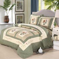 Chausub handgemachte patchwork quilt set 3 stücke / 4 stücke gewaschene baumwolle quilt gesteppt sdekread blätter kissenbezug covertet set könig größe