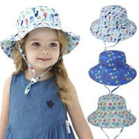 Çocuklar Seyahat Şapka Sevimli Kova Şapka Balıkçı Yaz Çocuk Balıkçı Pamuk Güneş Kova Şapka Geniş Brim Plaj Yaz Şapka KKA8346