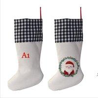 Sublimation Vierfarbige karierte Weihnachtsstrumpf Leinen Streifen Leerer DIY Santa Claus Socke Geschenk Taschen Süßigkeiten Tasche Weihnachtsbaum Dekoration HWB9417