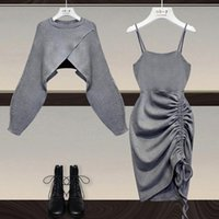 Casual Dresses 2021 Women Fall Winter Two Piece Set Long Sleeve Round -Neck Shorts Tops And Sleeveee Sexy Dress Female Solid Color Suits