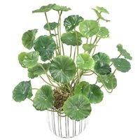 Guirnaldas de flores decorativas 37 cm18 Fork Artificial Green Plants Pequeña hoja de loto PLÁSTICA PLÁSTICA PLÁSTICA PLÁSTICA PLÁSTICA INTERIOR BONSAI COPE MONEJO MUNDO EL H