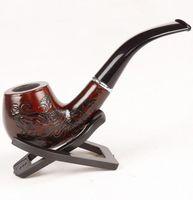 Wholesale vente chaude classique en bois enchase sculpté fumer des tuyaux de cigarette filtre tabac tuyau Ju0528