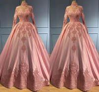 Plus Size Pink Prom Dresses Lace Applique High neck Long Sleeves Quinceanera Dress Ball Gown Satin Pageant Evening Party Gowns