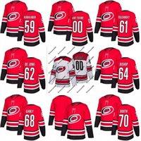 Nouvelle saison Caroline Hurricanes Jersey 59 Janne Kuokkanen 61 Sergei Tolchinsky 62 Brendan de Jong 64 Clark Bishop Cushop Custom Custom Hockey Jerseys