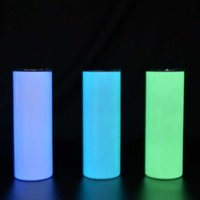 Neue leuchtende Tumbler-Glühen in dunklem Edelstahl Heft Cup für Sublimation absolut gerade 20 Unzen gerade Sublimation dünnes Tumbler
