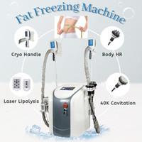 آلة التخسيس مزدوجة كيبرو مقبض بارد الجسم النحت تحلل الدهون التخسيس آلة التخسيس RF ليبو الليزر الدهون تجميد آلة التخسيس