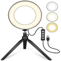 16 26cm Ring Light Tripod Stand Selfie Lamp Cell Phone Holder for Live Stream Makeup Fill Light Camera Dimmable Ringlight
