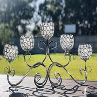 Candle Holders Crystal Candlestick Chandelier Horizontal Table Standing Candelabra Wedding Centerpiece Holder (Silver) Qq484