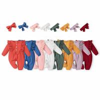 INS Bébé Enfants Vêtements Fille Romper O-Cou Longue Manches Dentelle Design Couleur Solide Romper + Bandeau Simple Simple 100% CotonRomper