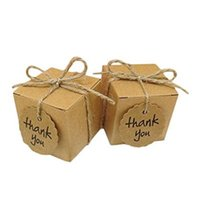 Gift Wrap 50pcs Cube Or Pillow-shaped Mini Kraft Paper Boxes Wedding Christmas Party Favor Present Packing Thank You Bags