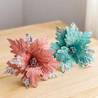 Decorative Flowers & Wreaths 6 Colors Christmas Glitter Artificial Decoration DIY Handmade Wedding Party Home Garden Ornaments