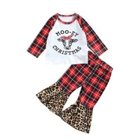 Clothing Sets 2Pcs Christmas Little Girls Outfit Clothes Cow Head Printing Long Sleeve Plaid Tops Print Pants Leopard