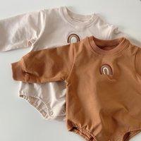 Ins Koreanisch Australien Qualität Baby Strampler Jumpsuits Langarm Regenbogen Stickerei Frühling Winter Neugeborene Bodysuits Onesies