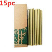 Drinking Straws 15Pc Set 20cm Bamboo Straw Reusable For Party Birthday Wedding Bar Tool
