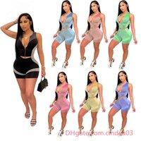 Frauen Sport Trainingsanzüge Zwei Teile Set Designer Yoga Outfits Slim Sexy Sleeveless Zipper Tops Shorts Casual Muster Gedruckt Sportwear
