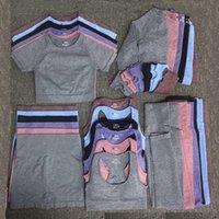 Donne Tracksuits Autunm Winter Fashion Designer Womens Cotton Yoga Vestito Same Sty Sty Sportswear Sport fitness 5pcs Bra leggings Abiti Solido