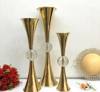 Hochzeitstisch Mittelstücke Requisiten Blumenvase mit großen Kristallkugel Blume Vase Halter Metall Handwerk Dekor für Hotel Party Events