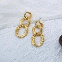 Aensoa Mode Boucles d'oreilles à la chaîne linéaire en or chaude doré Boucles d'oreilles dorées longues pour femmes Pendentif de bijoux occasionnels