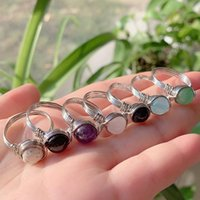 Wedding Rings Wire Wrapped Crystal Reiki Healing Stone Natural Amethysts Agates Pink Quartz Fashion Women Party Jewelry