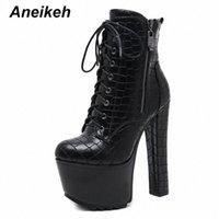Aneikeeh Sexy Hohe Plattformen Frauen Kreuz gebundene Knöchelstiefel Punk PU Leder Motorrad Boots Nachtclub Schuhe Frau Chunky Heels H737 #
