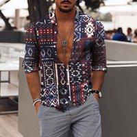 Men's Casual Shirts Vintage Fashion Autumn Printed Long Sleeve Top Blouse Streetwear Camisas Hombre Manga Larga
