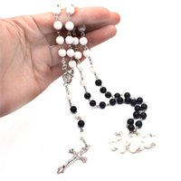 Pendant Necklaces Religious Cross Rosary Beads Necklace Round Black White Christianity Acrylic Choker Jewelry Unisex Accessories