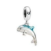 حقيقي الفضة اللون تلمع الدلفين استرخى سحر الخرز صالح باندورا أساور النساء diy مجوهرات