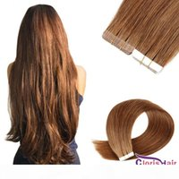 #6 Chestnut Brown Straight Tape In Remy Human Hair Extensions Invisible Strong Double Sided Adhesive Tape On Seamless Pu Skin Weft 20pcs
