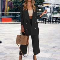 Women's Two Piece Pants OL Style Turn-down Collar Blazer Outfits 2021 Autumn Winter Double Breasted Long Sleeve Coat Suit Women Solid 2Pc Se