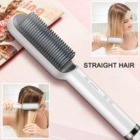 Escova de cabelo elétrico profissional escova pente aquecido alisamento pentes homens barba cabelo straight estilando ferramenta