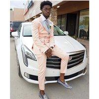 Men's Suits & Blazers Fashion Light Pink For Men Custom Made Slim Fit Man Grooms Wedding Suit Tuxedo Set Evening Prom Blazer Pants 2 Pieces