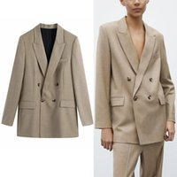 Frauenanzüge Blazer Frau 2021 Khaki Zweireiher Button Wolle Blazer Frauen Büro Begrenzte Langarm Damen Lässige Weibliche Mantel