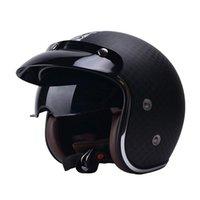 Motorradhelme Yema 628 Helm Kohlefaser 3/4 Halley Männer Frauen Moto Professionelle Rennmaterial Retro L xl 2XL